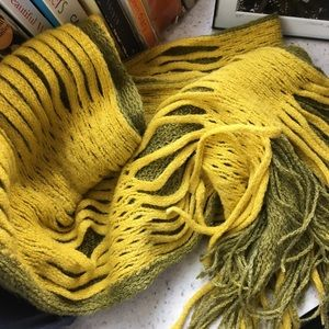 Yellow open weave, fringed acrylic scarf